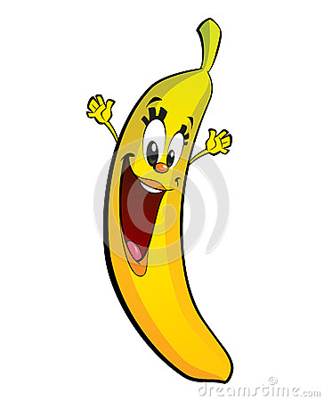 Happy cartoon banana character