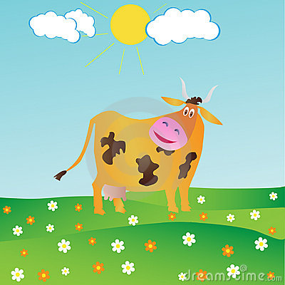 Happy Cartoon Cow With A Flower
