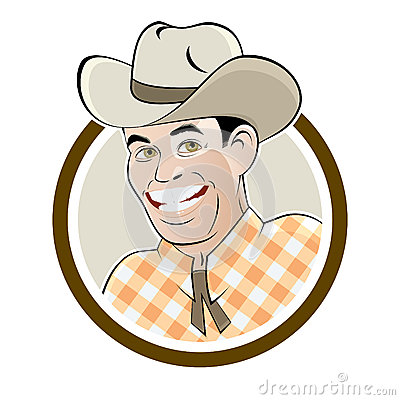 Happy cartoon cowboy