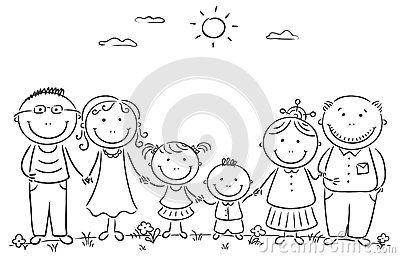 Happy cartoon famile with two children and grandparentsHappy Family Cartoon Black And White