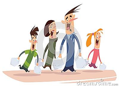 Happy cartoon family shopping