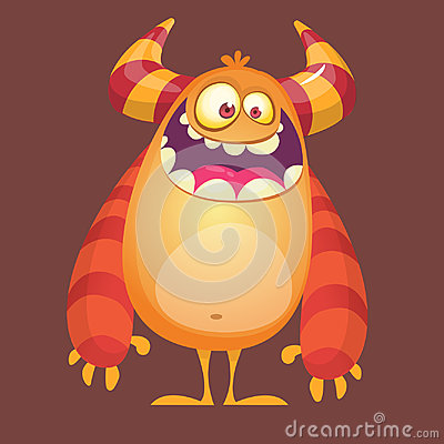 Free Happy Cartoon Furry Monster. Orange Vector Troll Character. Design For Icon, Emblem, Sticker Or Children Book Illustration. Stock Image - 97163471