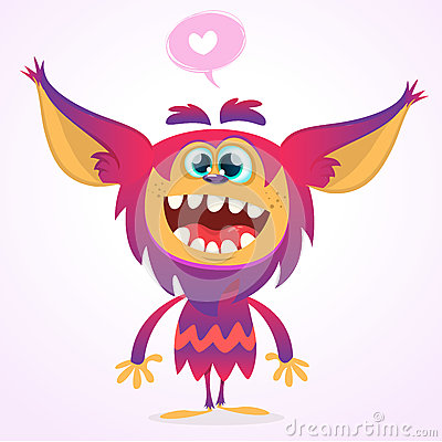 Free Happy Cartoon Gremlin Monster In Love. Halloween Vector Goblin Or Troll With Pink Fur And Big Ears. Isolated Stock Photos - 75443913