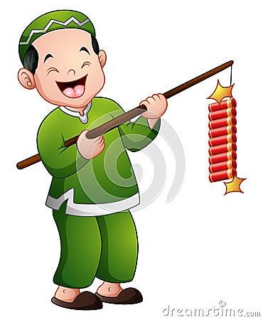 Free Happy Cartoon Kid Celebrate Eid Mubarak With Play Firework Royalty Free Stock Photography - 93469057