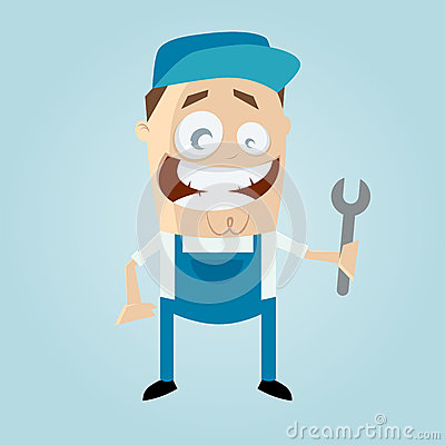 Happy cartoon mechanic