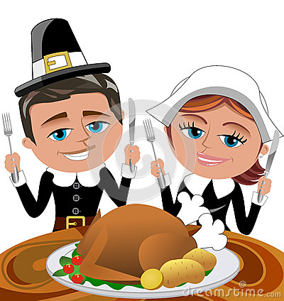 Happy Cartoon Pilgrims Eating Roast Turkey