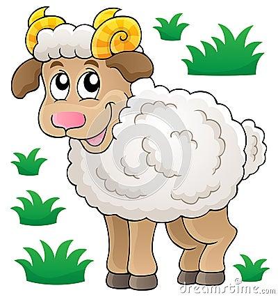 Happy cartoon ram