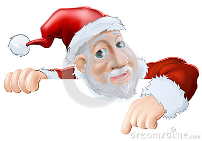 Happy cartoon Santa pointing down
