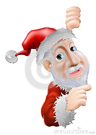 Happy cartoon Santa pointing to side