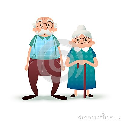 Free Happy Cartoon Senior Couple. Fanny Flat Characters. Old Man And Old Lady. Flat Illustration On White Background. Royalty Free Stock Images - 104969359