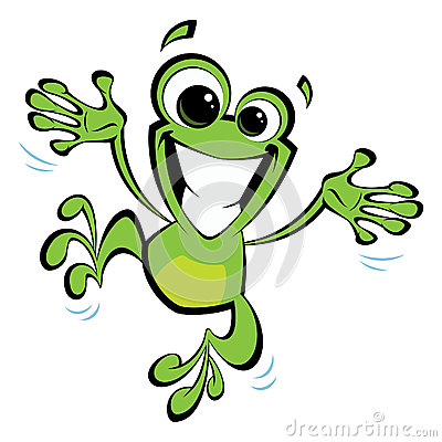 Happy cartoon smiling frog jumping excited Stock Photo