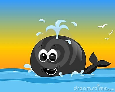 Happy cartoon whale, cdr vector