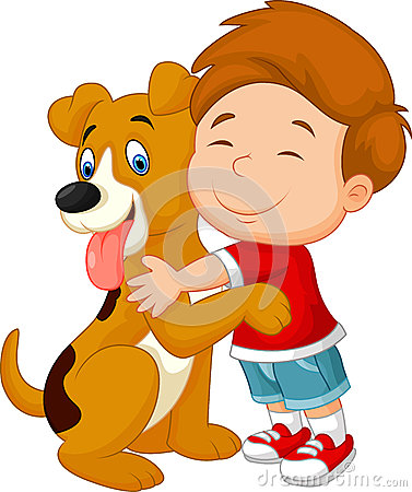 Free Happy Cartoon Young Boy Lovingly Hugging His Pet Dog Royalty Free Stock Images - 47317519