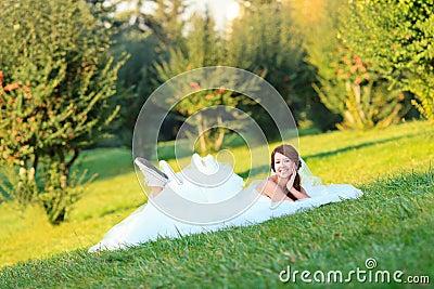 Happy casual bride