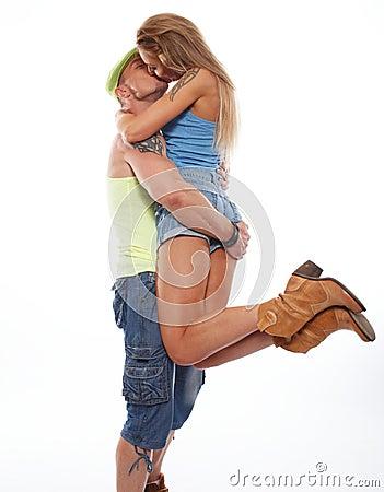 Happy  casual couple