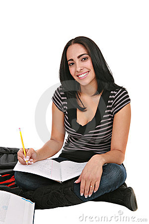 Happy Casual Dressed Hispanic Female Student