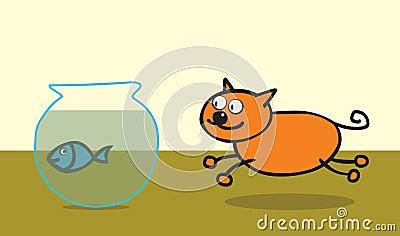 Happy cat like fish