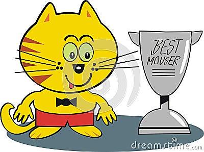 Happy cat with trophy cartoon