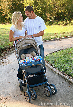 Happy Caucasian Young Family Enjoying Outdoor