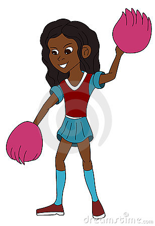 Happy cheerleader cartoon