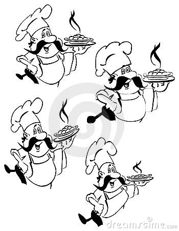 Happy chef sketches