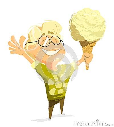 Happy child boy eat ice cream sunny day vector character Vector Illustration