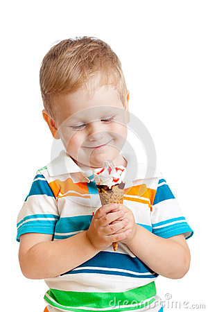 Happy child boy with ice cream isolated on white
