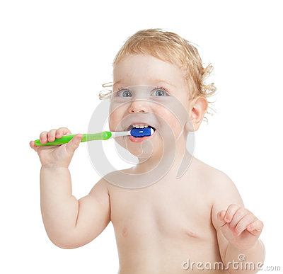Happy child brushing teeth isolated