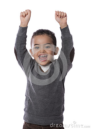 Happy Child with Hands Up