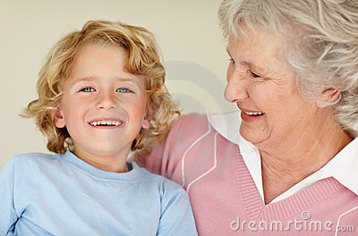 Happy child with his grandmother