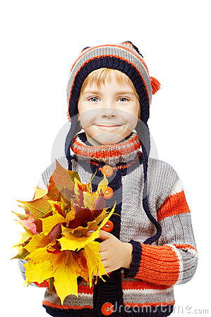 Free Happy Child In Woolen Clothes Holding Maple Leaves Royalty Free Stock Image - 33393296