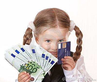 Happy child with money and credut card.