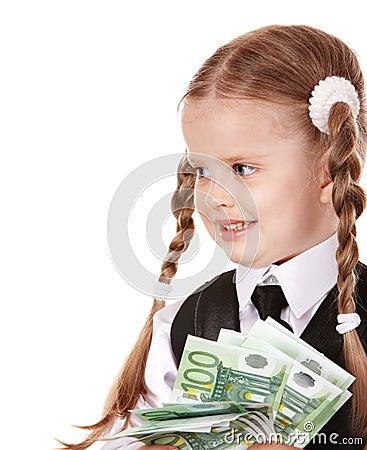 Happy child with money euro.
