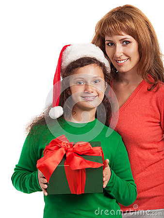 Happy child and mother with Christmas gift