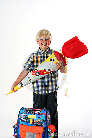 Free Happy Child On His First Schoolday Royalty Free Stock Images - 1855839