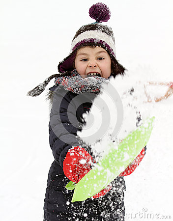 Free Happy Child Playing With Snow In Winter Stock Photography - 49951822