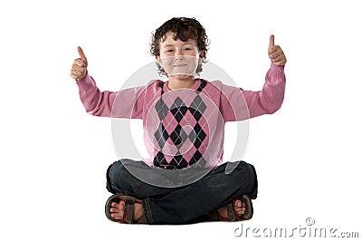 Happy child sitting
