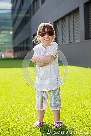 Happy child with sunglasses