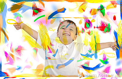 Happy child with thumbs up in colors