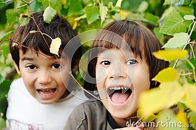 Happy childhood outdoor, happy