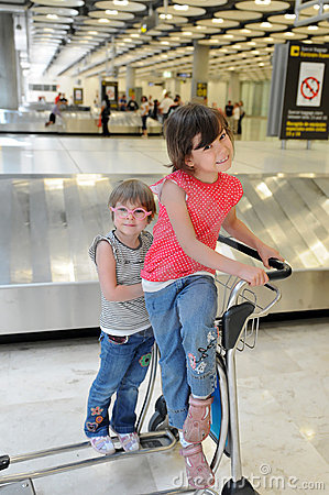 Happy children in airport
