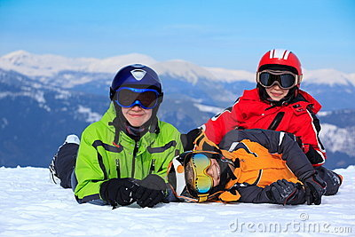 Happy children in Alps