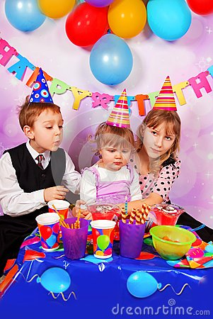 Happy children on birthday party
