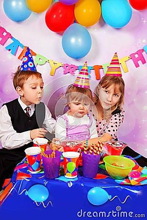 Happy children on birthday party