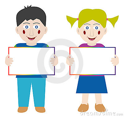 Happy children with blank banner