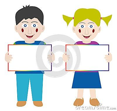 Happy children with blank banner