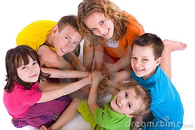 Happy Children in a Circle