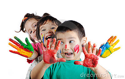 Happy children with colors