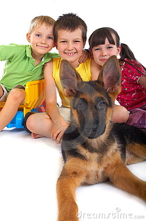 Happy children with dog