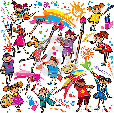 Happy children drawing with brush and crayons